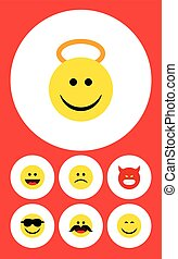 Flat Icon Face Set Of Smile, Happy, Sad And Other Vector Objects. Also Includes Pouting, Grin, Laugh Elements.