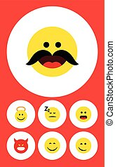 Flat Icon Face Set Of Winking, Smile, Pouting And Other Vector Objects. Also Includes Smile, Confused, Winking Elements.