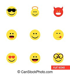Flat Icon Face Set Of Wonder, Pouting, Pleasant And Other Vector Objects. Also Includes Joy, Eyeglasses, Angry Elements.