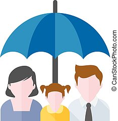 Flat icon - Family umbrella