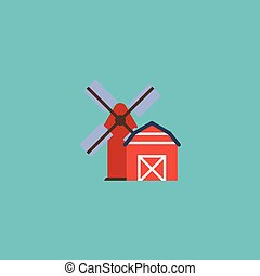 Flat Icon Farm Element. Vector Illustration Of Flat Icon Landscape Isolated On Clean Background. Can Be Used As Farm, Barn And Windmill Symbols.