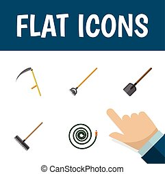 Flat Icon Farm Set Of Shovel, Harrow, Cutter And Other Vector Objects. Also Includes Hoe, Spade, Tool Elements.