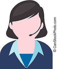 Flat icon - Female receptionist - Female receptionist icon...