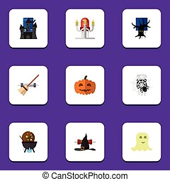 Flat Icon Festival Set Of Broom, Witch Cap, Magic And Other Vector Objects. Also Includes Terrible, Monster, Spirit Elements.