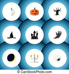 Flat Icon Festival Set Of Witch Cap, Zombie, Crescent And Other Vector Objects. Also Includes Witch, Candelabrum, Wizard Elements.