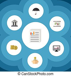 Flat Icon Finance Set Of Bank, Parasol, Document And Other...