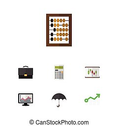 Flat Icon Finance Set Of Counter, Parasol, Diagram And Other...