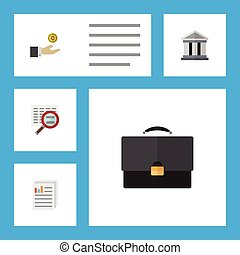 Flat Icon Finance Set Of Portfolio, Document, Scan And Other Vector Objects. Also Includes Hand, Scan, Bank Elements.