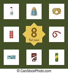 Flat Icon Food Set Of Tomato, Fizzy Drink, Cookie And Other Vector Objects. Also Includes Fillet, Cola, Love Elements.