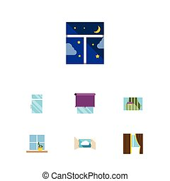 Flat Icon Frame Set Of Clean, Flowerpot, Curtain And Other...