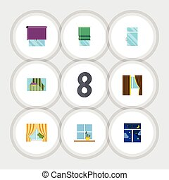 Flat Icon Frame Set Of Curtain, Glass Frame, Glazing And...