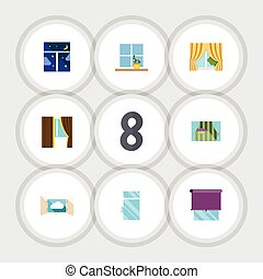 Flat Icon Frame Set Of Flowerpot, Glazing, Curtain And Other Vector Objects. Also Includes Flower, Balcony, Window Elements.