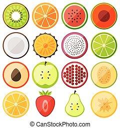 flat icon fruits
