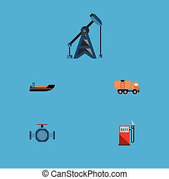 Flat Icon Fuel Set Of Petrol, Flange, Van And Other Vector Objects. Also Includes Petrol, Transport, Ship Elements.