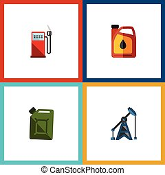 Flat Icon Fuel Set Of Petrol, Rig, Fuel Canister And Other Vector Objects. Also Includes Pump, Jerrycan, Gas Elements.