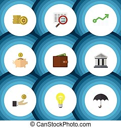 Flat Icon Gain Set Of Growth, Cash, Bank And Other Vector...
