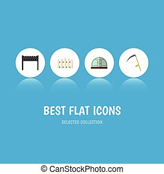 Flat Icon Garden Set Of Cutter, Hothouse, Wooden Barrier And...