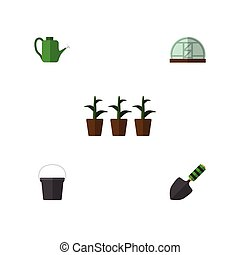 Flat Icon Garden Set Of Pail, Trowel, Hothouse And Other ...