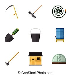 Flat Icon Garden Set Of Stabling, Pail, Hothouse And Other ...