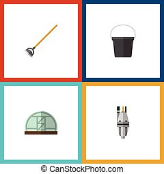 Flat Icon Garden Set Of Tool, Hothouse, Pail And Other ...