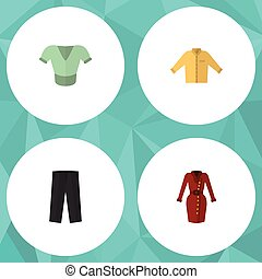Flat Icon Garment Set Of Casual, Clothes, Banyan And Other Vector Objects. Also Includes Banyan, Blouse, Dress Elements.