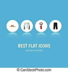 Flat Icon Garment Set Of Cravat, Elegant Headgear, Pants And Other Vector Objects. Also Includes Necktie, Cravat, Hat Elements.