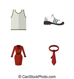Flat Icon Garment Set Of Cravat, Singlet, Sneakers And Other Vector Objects. Also Includes Gumshoes, Clothes, Sneakers Elements.