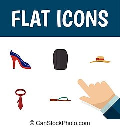 Flat Icon Garment Set Of Heeled Shoe, Stylish Apparel, Beach Sandal Vector Objects. Also Includes Necktie, Headgear, Woman Elements.
