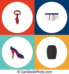 Flat Icon Garment Set Of Heeled Shoe, Stylish Apparel, Cravat And Other Vector Objects. Also Includes Apparel, Sandal, Underclothes Elements.