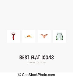Flat Icon Garment Set Of Lingerie, Cravat, Trunks Cloth And Other Vector Objects. Also Includes Shorts, Headgear, Underwear Elements.