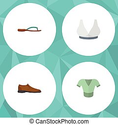 Flat Icon Garment Set Of Male Footware, Casual, Beach Sandal Vector Objects. Also Includes Flop, Clothes, Breast Elements.