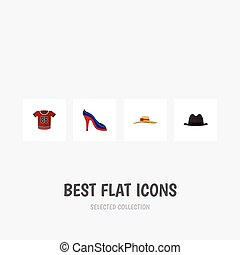 Flat Icon Garment Set Of Panama, Heeled Shoe, Elegant Headgear And Other Vector Objects. Also Includes Blouse, Shirt, Hat Elements.