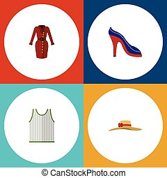 Flat Icon Garment Set Of Singlet, Elegant Headgear, Clothes And Other Vector Objects. Also Includes Singlet, Dress, Hat Elements.