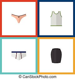 Flat Icon Garment Set Of Singlet, Lingerie, Stylish Apparel And Other Vector Objects. Also Includes Briefs, Woman, Lingerie Elements.