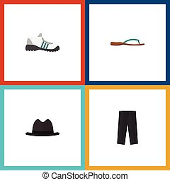 Flat Icon Garment Set Of Sneakers, Pants, Panama And Other Vector Objects. Also Includes Shoes, Panama, Leggings Elements.