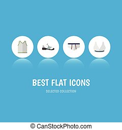 Flat Icon Garment Set Of Underclothes, Sneakers, Singlet And Other Vector Objects. Also Includes Gumshoes, Sneakers, Shoes Elements.
