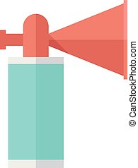 Flat icon - Gas horn - Gas horn in flat color style. Alarm...
