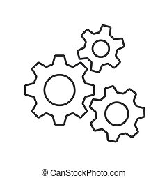 Flat Icon Gears Button