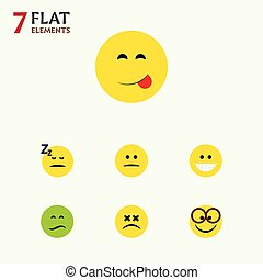 Flat Icon Gesture Set Of Asleep, Displeased, Grin And Other...
