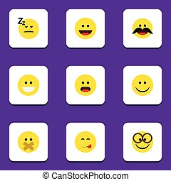 Flat Icon Gesture Set Of Wonder, Cheerful, Joy And Other...