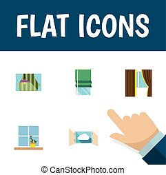 Flat Icon Glass Set Of Balcony, Curtain, Cloud And Other...
