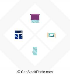 Flat Icon Glass Set Of Clean, Frame, Glazing And Other...