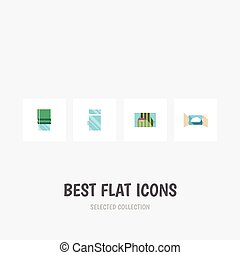 Flat Icon Glass Set Of Curtain, Balcony, Clean And Other...