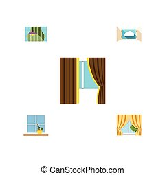 Flat Icon Glass Set Of Curtain, Flowerpot, Glass And Other...