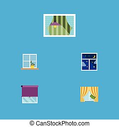 Flat Icon Glass Set Of Curtain, Glass Frame, Flowerpot And Other Vector Objects. Also Includes Flower, Balcony, Curtain Elements.