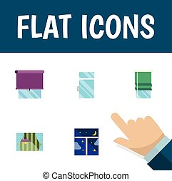 Flat Icon Glass Set Of Frame, Curtain, Balcony And Other...