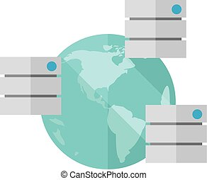 Flat icon - Global server