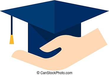 Flat icon - Hand holding diploma - Hand holding diploma icon...