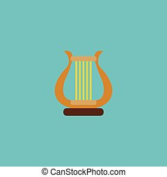 Flat Icon Harp Element. Vector Illustration Of Flat Icon Lyre Isolated On Clean Background. Can Be Used As Harp, Lyre And Instrument Symbols.