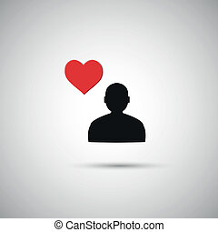 Flat icon human heart on a gray background